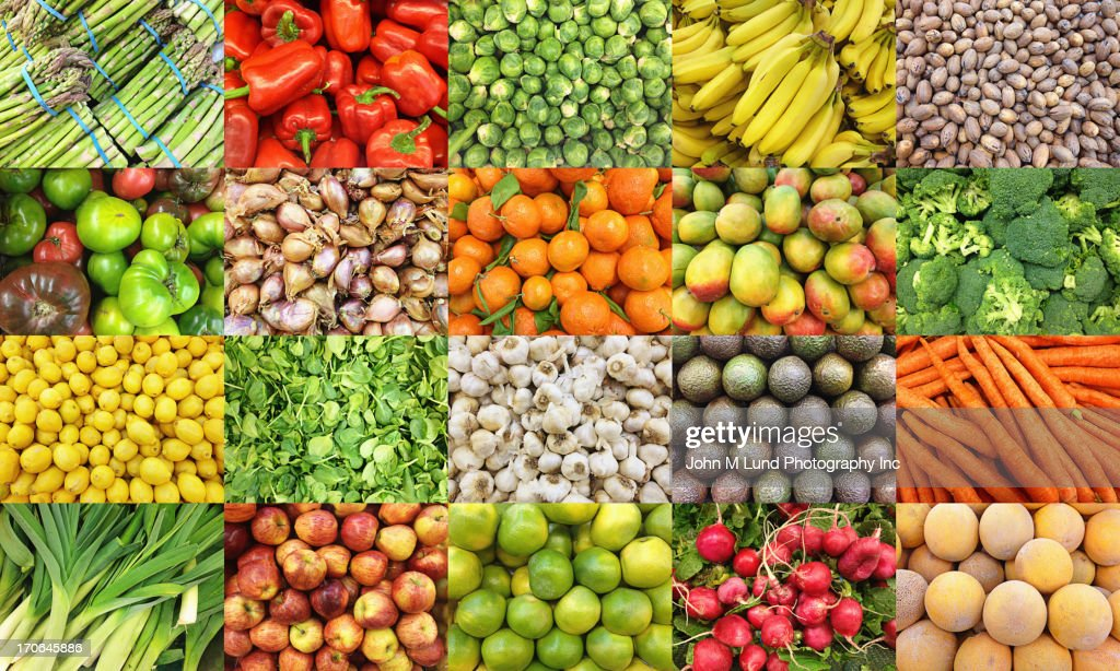 Collage of fruits and vegetables : Stock Photo