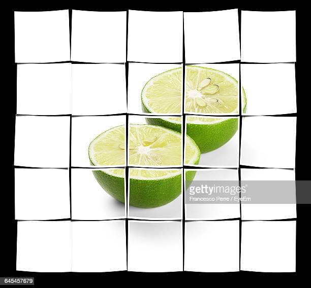 Collage Of Halved Lemons Against Black Background
