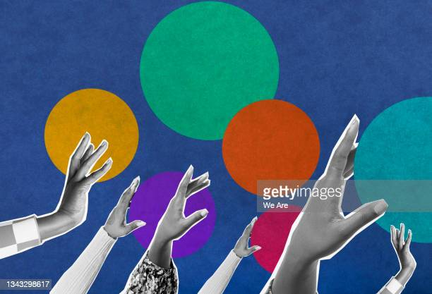 collage of hands reaching up with colourful dots in background - human limb stock pictures, royalty-free photos & images