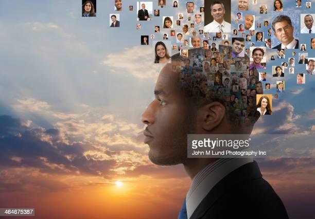 collage of heads around businessman - 先頭 ストックフォトと画像