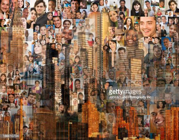 Collage of images of people and highrise buildings
