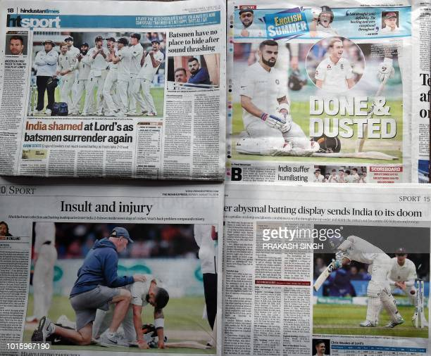 A collage of Indian newspaper's sports page Hindustan Times Mail Today The Indian Express and The Hindu in New Delhi on August 13 2018 India's media...