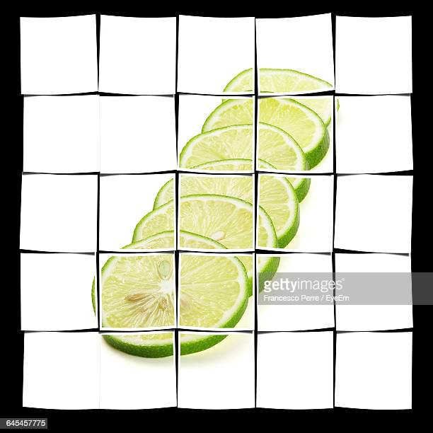 Collage Of Lemon Slices Against Black Background