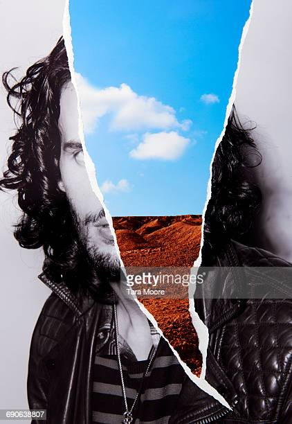 collage of man and landscape - multi colored coat stock photos and pictures