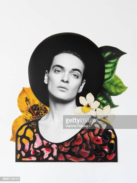 Collage of man with flowers