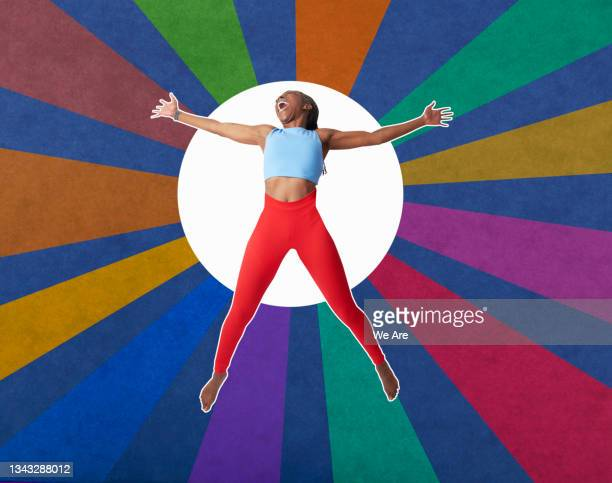 collage of mature woman jumping for joy in front of colourful background - one mature woman only stock pictures, royalty-free photos & images