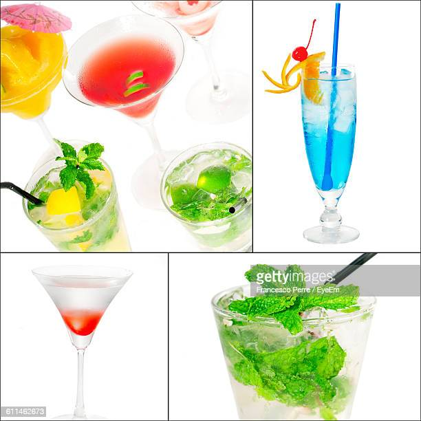 Collage Of Mocktails Against White Background