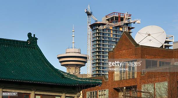 A collage of old new North American and Chinese influences are seen in roof tops February 19 2009 in Vancouver British Columbia Canada Vancouver is...