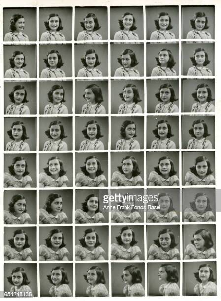 A collage of passport sized images of Anne Frank 1939