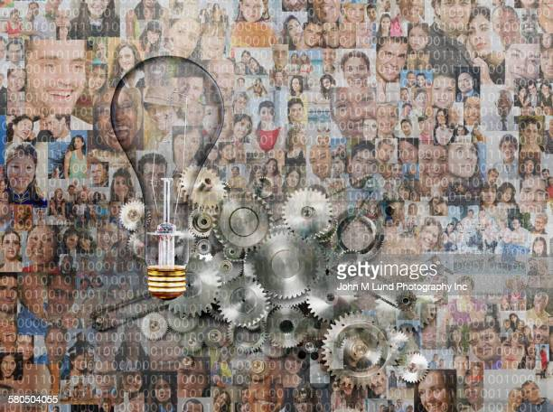 Collage of people with mechanical gears and lightbulb