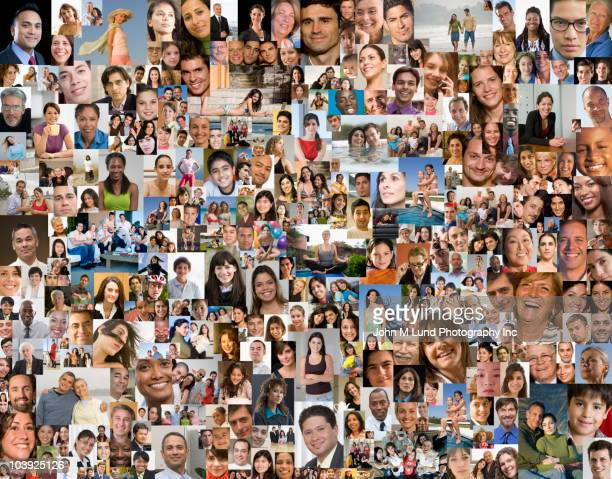 collage of photographs - large group of people imagens e fotografias de stock
