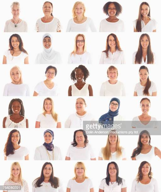 Collage of portraits of smiling diverse women