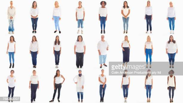collage of portraits of smiling diverse women - white pants stock pictures, royalty-free photos & images