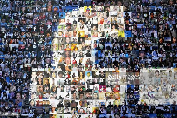 A collage of profile pictures makes up a wall in the break room at the new Facebook Data Center on April 19 2012 in Forest City North Carolina The...