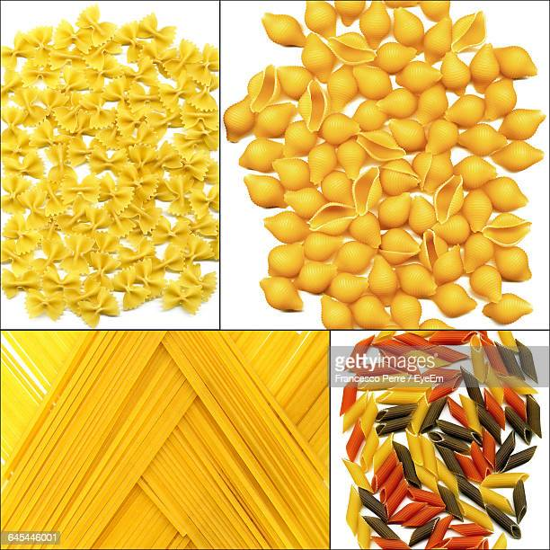 Collage Of Raw Pasta On White Background