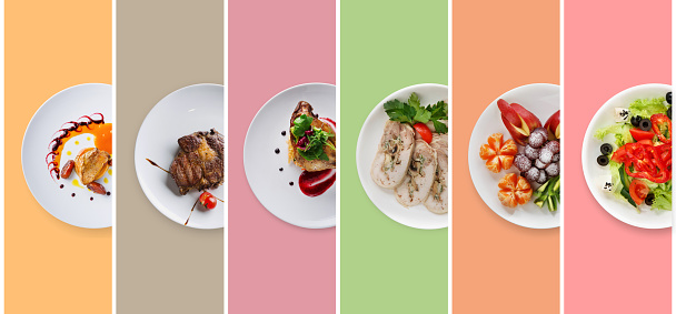 Collage of restaurant dishes on colorful background 953475086