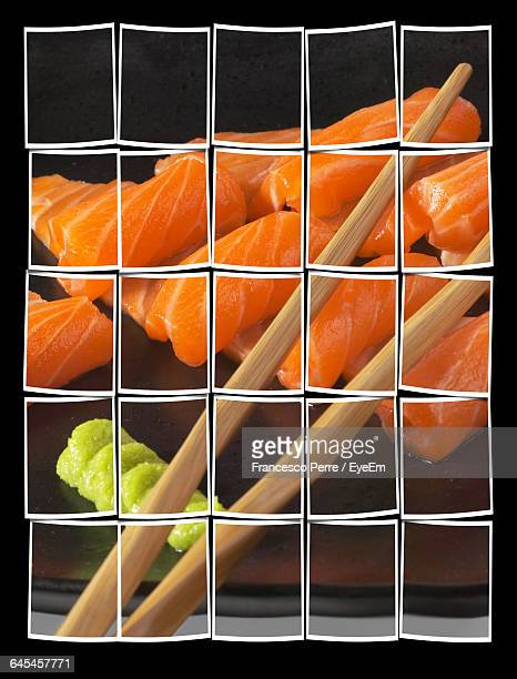 Collage Of Salmon With Chopsticks Against Black Background