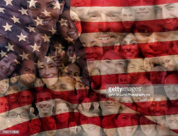 Collage of smiling faces on American flag