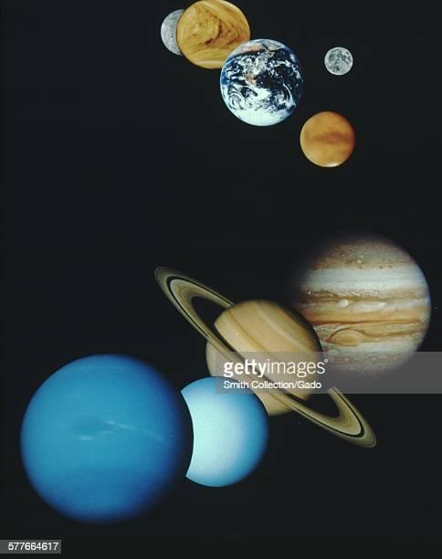 Collage of solar system color showing Mercury Venus Earth Mars Jupiter Saturn Uranus and Nepture Pluto missing 1966