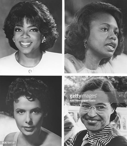 Collage of talk show host Oprah Winfrey singer actress civil rights activist and dancer Lena Horne Civil Rights activist Rosa Parks and Anita Hill...