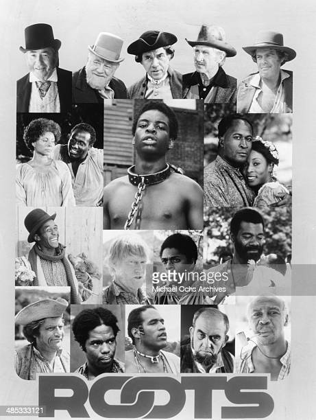 A collage of the cast of the television miniseries Roots which aired in 1977