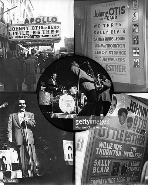 Collage of the marquee and program of the Apollo Theater displaying the Johnny Otis Band performing and with the names of 'Little' Esther Phillips...