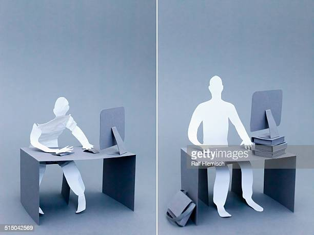 Collage of tired and confident paper businessmen working over gray background