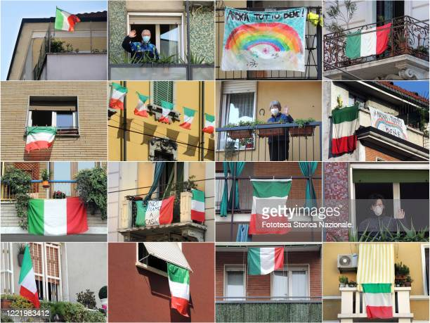 Collage of tricolor flags and 'Stay At Home' messages displayed from the balconies, encouraging government emergency measures to counter the spread...