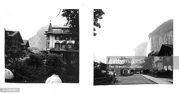 Collage of two photographs shows various buildings Lauterbrunnen Switzerland June 27 1965 Brandt was a cubist and member of the California Watercolor...