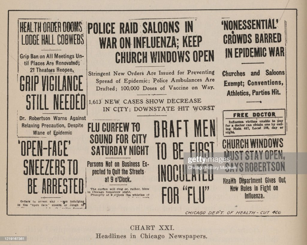 Chicago Newspaper Headlines About The 1918 Influenza Pandemic : News Photo