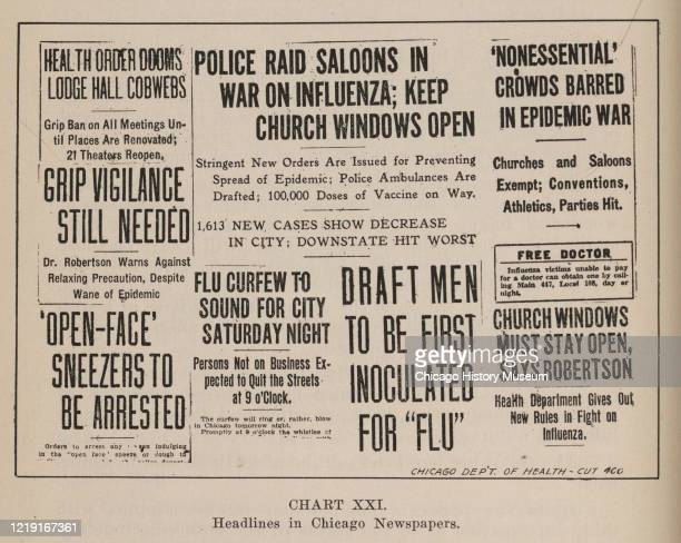 Collage of various newspaper headlines related to the previous year's influenza pandemic, Chicago, Illinois, 1919. Headlines include 'Police Raid...