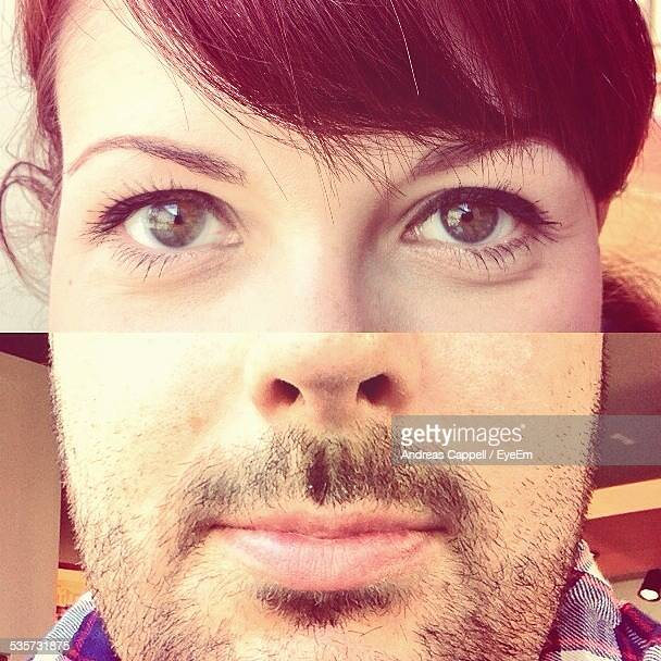 Collage Of Woman Eye With Man Face