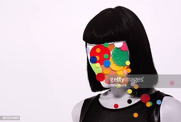 collage of woman with felt circles on head - obscured face stock pictures, royalty-free photos & images