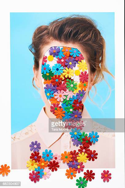 collage of woman with flowers on head