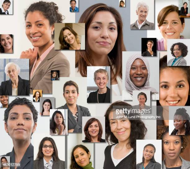 collage of women's smiling faces - john lund stock pictures, royalty-free photos & images