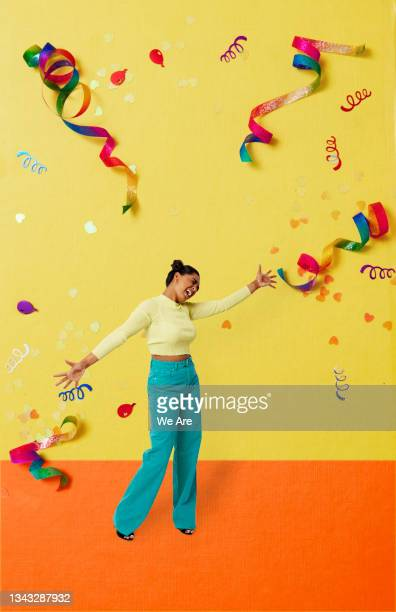 collage of young woman dancing in celebration - only young women stock pictures, royalty-free photos & images