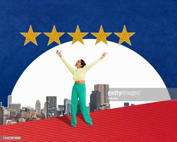 collage of young woman holding hands in the air looking up to 5 gold stars above a city skyline - human limb stock pictures, royalty-free photos & images
