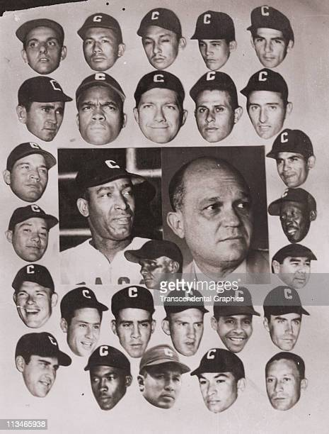 Collage photo of the Caracas baseball team, featuring manager Martin Dihigo, center, left, and Chico Carresquel, left column, fourth down, was taken...