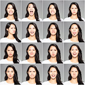 collage with different emotions in same young woman