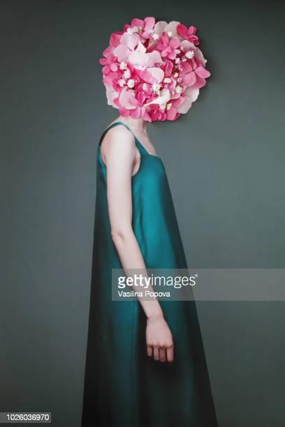 collage with female portrait and flowers - femminilità foto e immagini stock
