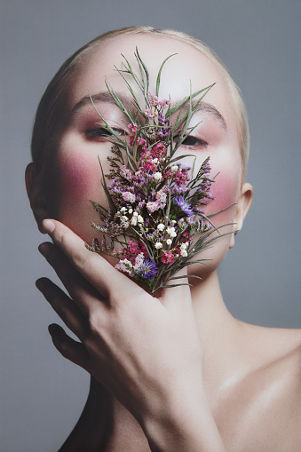 Collage with female portrait and flowers - gettyimageskorea