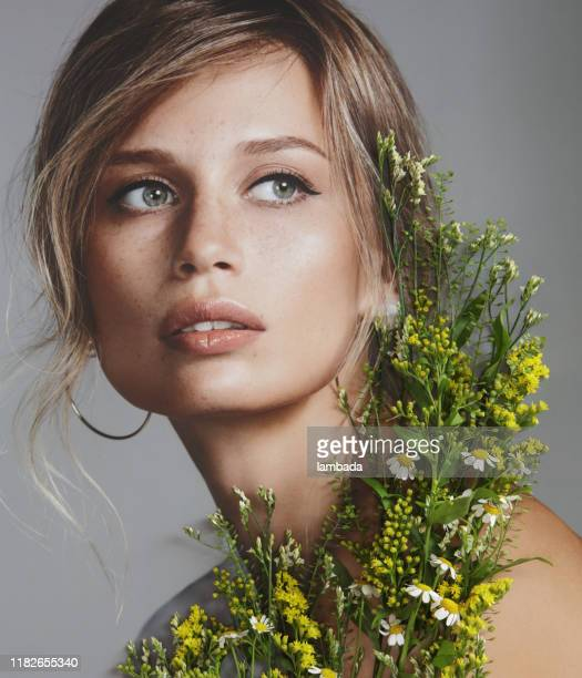 collage with female portrait and flowers - fashion model stock pictures, royalty-free photos & images