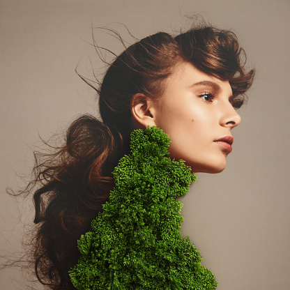 Collage with female portrait and green plant - gettyimageskorea