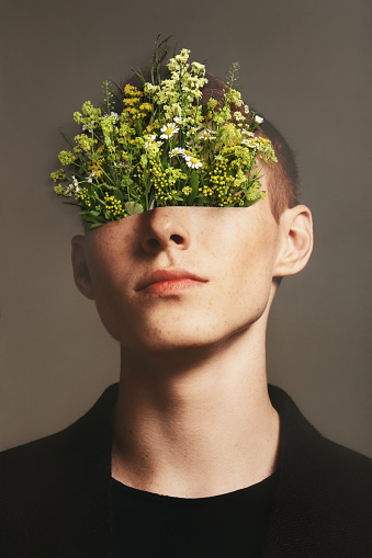 Collage with male portrait and flowers - gettyimageskorea