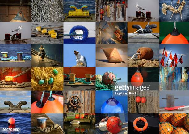 Collage with maritime pictures, buoys, nets, ropes, seagulls