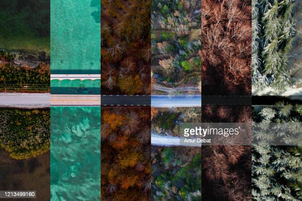 collage with roads from above in different seasons of year. - vía fotografías e imágenes de stock