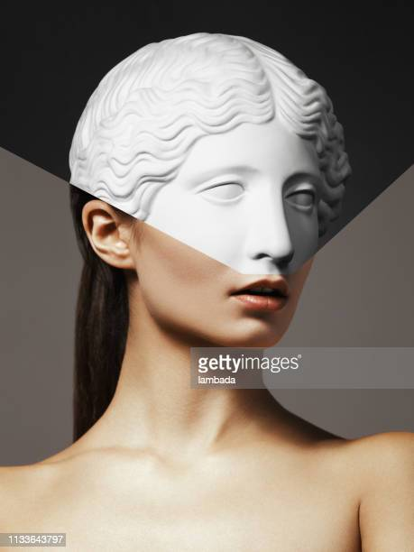 collage with woman and plaster head - sculpture stock pictures, royalty-free photos & images