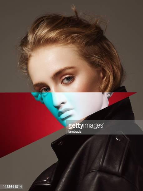 colagem com cabeça da mulher e do emplastro - fora de moda estilo - fotografias e filmes do acervo