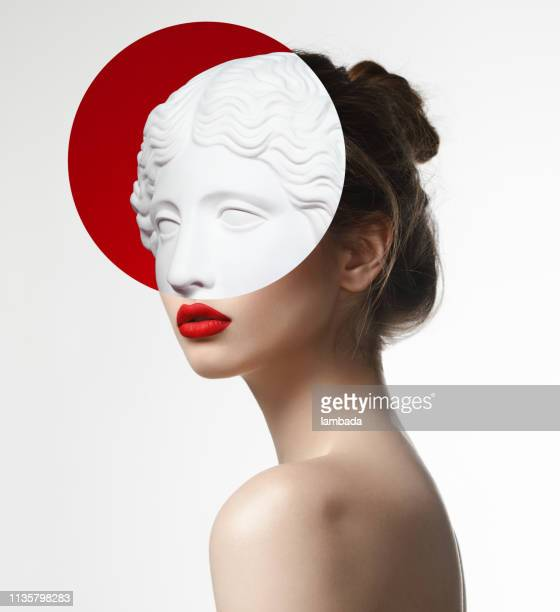 collage with woman and plaster head - statue stock pictures, royalty-free photos & images
