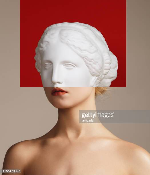 collage with woman and plaster head - human head stock pictures, royalty-free photos & images